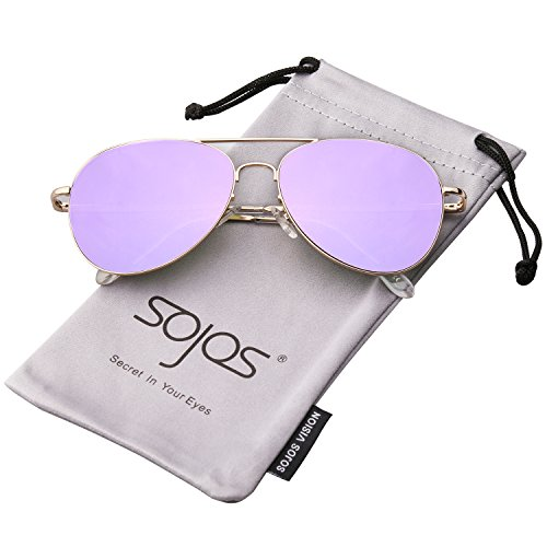 382d6dc0f5864 SojoS Classic Aviator Mirrored Flat Lens Sunglasses Metal Frame with Spring  Hinges SJ1030
