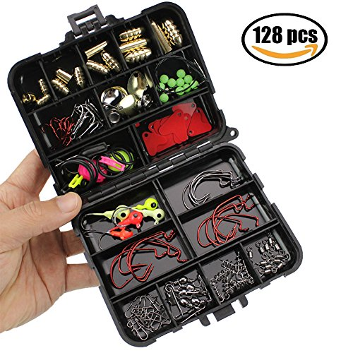 Oak-Pine 128Pcs/Set Fishing Accessories Set Carp Catfish Freshwater  Saltwater Fishing Tackle Box - Hooks, Swivels, Double Loops, Spinners,  Luminous
